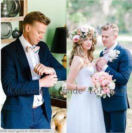$enCountryForm.capitalKeyWord Canada - Slim Fit Groom Tuxedos Dark Blue Side Vent Groomsmen Wedding Prom Suits Custom Made Best Men Bridegroom Tuxedo(Jacket+Pants+Tie).