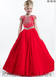 Beau Concours Robe Rouge Pas Cher-2017 Livraison gratuite Hot Little Kids Red Floor Longueur Ball Gown Cap Sleeves Beaded Crystal Beauty Pageant Dress Flower Girl Dress en Stock