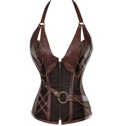 51dbf2855d3 Fast Shipping Plus Size Sexy Steel Bones Halter Faux Leather Steampunk Gothic  Corset Shapewear Party Wear Slimming Corsets Clothing 0908
