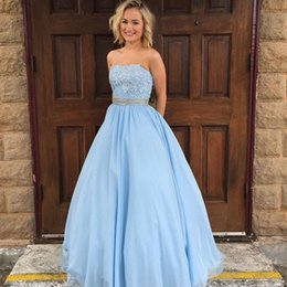 Barato Vestido Sem Alças Azul Chiffon-2017 Vestido de noiva sem alças Beaded Lace Appliques Cristais Light Sky Blue Prom Vestidos Custom Made Floor Length Evening Party Gowns