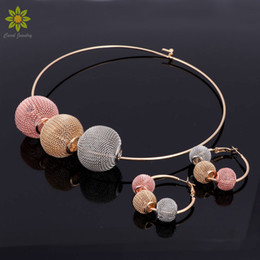 $enCountryForm.capitalKeyWord NZ - Fashion Dubai Gold Plated Jewelry Set Nigerian Wedding African Beads Earrings Necklace Set For Women 3Color