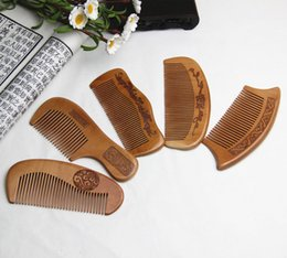 $enCountryForm.capitalKeyWord Australia - Women's gifts 100% Natural peach combs thickened carved wood combs Anti-static massage scalp health portable hair comb wedding favor