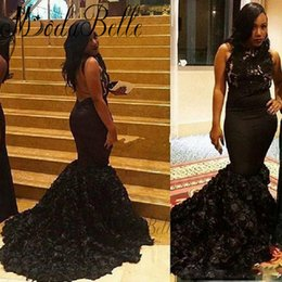 Discount two piece mermaid print prom dress - High Neck Backless Black evening Dresses 2017 Mermaid 3D Flowers Lace Satin Court Train Formal Occasion Prom Gowns