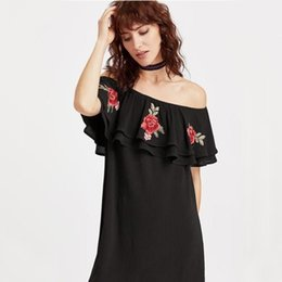 bdcb7814a47b Summer Style Bardot Dress Ruffles Slash Neck Off Shoulder Casual Dress Rose  Embroidery Sexy Night Club Dresses Black Red Blue ZSJG0524