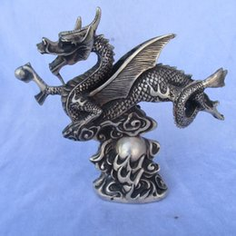 Folk Art Christmas Australia - christmas decorations for home+ Collectible Tibetan silver carved Flying Dragon statue Chinese Folk art Dragon Sculpture