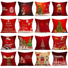 Linen Square Decorative Throw Pillow Case Vintage Cushion Cover Home Santa Claus Christmas Tree Gifts And Snowman Printing 4545cm