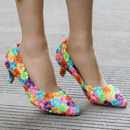 $enCountryForm.capitalKeyWord Canada - High Quality Colorful Lace Women Wedding Shoes 5CM High Heels Ladies Party Dress Shoes Pointed Toes Pumps