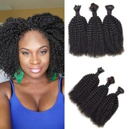Discount afro kinky bulk braiding hair - Afro Kinky Curly Braiding Hair For Black Women Virgin Brazilian Human Bulk Hair Natural Black G-EASY