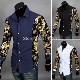 $enCountryForm.capitalKeyWord Canada - Wholesale- 2016 new Autumn Dynamic Splicing long-sleeved flower shirts men casual slim fit printed Mixed colors shirts for men,size M-2XL
