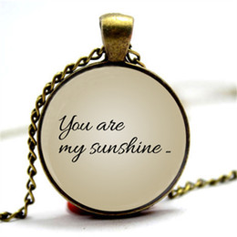 Link two online shopping - 10pcs You Are My Sunshine My only sunshine Paired necklace Set of two pendants jewelry Glass Cabochon Necklace