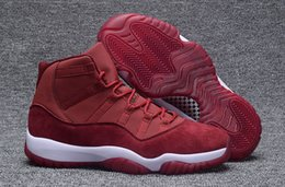 Barato Tecido De Veludo À Venda-Hot Sale New Lançado Air Retro 11 XI Velvet Heiress Basquetebol sapatos de alta qualidade Vinho Vermelho Mans Sport Sapatos Tamanho US8-13