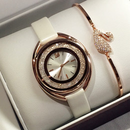 Watches marca online shopping - Luxury rose gold women leather watch Fashion lady dress watch with running diamond model Women watch famous brand Relojes De Marca Mujer