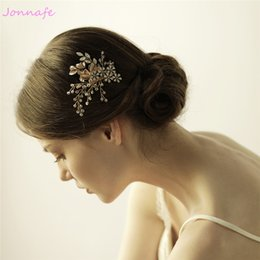 Wedding accessories hair pieces online shopping - beijia Gold Leaf Hair Comb Wedding Crystal Accessories Hair Piece Flora Women Hair Jewelry Handmade Headpiece