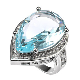 925 Sterling Ring Price Australia - Fashion Jewelry Rings Light Blue Crystal Zircon With Multi White Crystal Zircon 925 Sterling Silver Ring Factory price Size 6 7 8