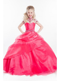 Barato Beleza Desfile Vestidos Crianças-New Luxurious Pink Little Girls Vestido Dressing Beaded Ruffle Vestido de baile Children Party Kids Beauty Pageant Dresses