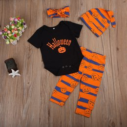 Ensembles De Vêtements Mignons Pour Garçons Pas Cher-Halloween Newborn Baby Boy Girl Vêtements Romper Pantalons Hat Headband 4pcs Set de citrouille Set Cute Kid Cotton Clothing Hallowmas Kids Outfits