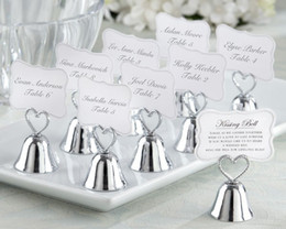 """$enCountryForm.capitalKeyWord UK - Factory sale Wedding favor of Silver color or Golden color """"Kissing Bell"""" Place Card Photo Holder 100pcs lot Free shipping"""