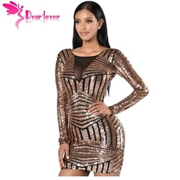 Venta al por mayor de DearLover Ocasión Especial Mujeres Bodycon Rose Negro Abrir Volver manga larga de lentejuelas Partido Mini vestido vestido de fiesta corto LC22867 17410