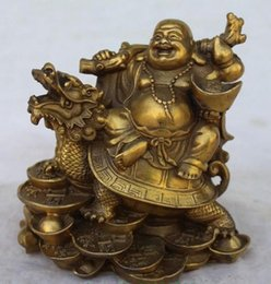 green money box Canada - FGT7H Chinese Copper Wealth Money Happy Laugh Maitreya Buddha On Dragon Turtle Statue