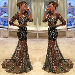 Barato Manga Comprida Bordado Vestido De Baile-Black Charming Mermaid Prom Dresses Bordados Bead Long Sleeve Sheer Neck Vestidos de noite Sweep Length Backless Party Dress
