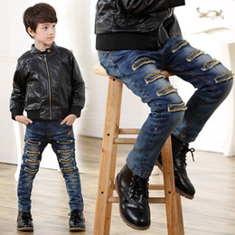 538a0ce7bd6bc Boys Denim Ripped Jeans Canada - Children Casual Trousers Baby Boys Jeans  Winter thicken Long Denim