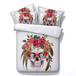 $enCountryForm.capitalKeyWord Canada - Hot 5 Styles Halloween White Flower Skull Glasses 3D Printed Bedding Set Twin Full Queen King Size Bedspreads Duvet Covers Fashion Designer