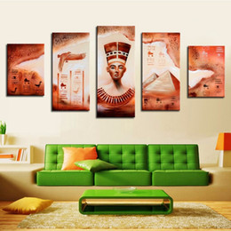 oil canvas set 2019 - 5 Pcs Set No Framed 100% Hand Painted Akhnaton Pharaoh Canvas Pictures Wall ArtWork Ornaments Egyptian Pyramids Oil Pain