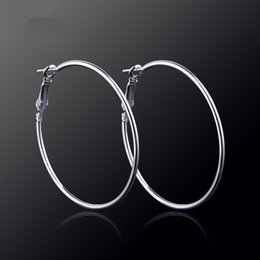 simple cosplay NZ - Simple S925 Silver exaggerated large circle earrings Diameter 2mm 3mm 4mm 5mm 6mm 7mm Hoop earrings for crazy girls cosplay Performance