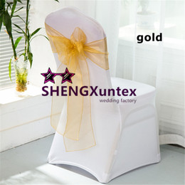 White Wedding Chairs For Sale Australia - Hot Sale White Spandex Chair Cover With Gold Organza Chair Sash \ Lycra Chair Cover For Wedding