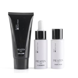 Chinese  3pcs Set 100% original PILATEN blackhead remover ,black head export liquid+black mask+compact toner,black mud face mask PILATEN mask by DHL manufacturers