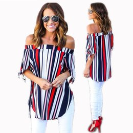 Off Shoulder Blouse Cotton Australia - Hot Striped Cotton and linen Women T Shirt with Boat Neck Off Shoulder Half Sleeves Lady Blouse Tops Fashion S--XL 2017