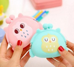 silicone wallet zipper 2018 - Kawaii Candy Owl Wallet Silicone Small Pouch Cute Coin Purse for Girl Key Rubber Wallet Children Mini Animal Case Storag