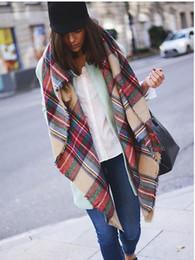 Tassel Scarf Plaid Canada - 2017 New style Women winter Tassels Scarf soft Plaid Shawl Tartan Scarf Large Blanket Wrap for women