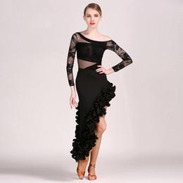 2018 nouveau style dentelle femmes robe latine Latina robe de danse samba salsa robe frange costumes de danse latine pour les femmes sexy robes de tango