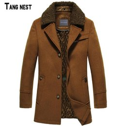 abrigo de lana de los hombres  al por mayor-Venta al por mayor TANGNEST Men Wool Blends New Fashion Winter Men s Long Plus Thick Warm Wool Polyester Abrigo para hombre MWN157