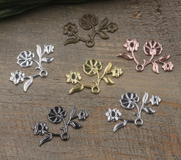 $enCountryForm.capitalKeyWord Australia - 07458 8*29mm antique bronze silver plated rose gold gun black flower blossom charms for jewelry making, cheap necklace pendant for bracelet