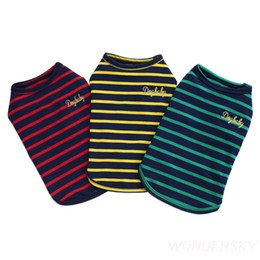 China 2018 Fashion Design Pet Summer Stripe Vests Small Medium Dog Cat Clothing Apparel for Puppy Wholesale Hotselling suppliers