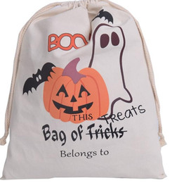 Cloth Pumpkins Canada - 100pcs New 6 style Halloween Wholesale Canvas Cotton Drawstring Children Candy Gifts Bag Party Pumpkin Bag