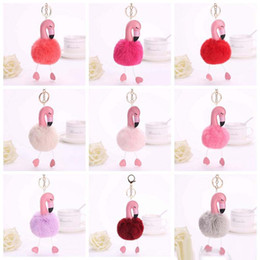 Free plush horse online shopping - 2017 new Flamingo plush Key ring bag Pendant Horse Keychain cartoon Flamingo Key chain colors
