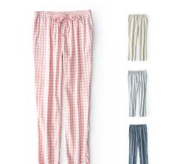 Pantalones de una sola capa de algodón lavado para el hogar para dormir pijamas de ocio de tela escocesa de algodón pijamas cómodos transpirables pantalones para mujeres en venta
