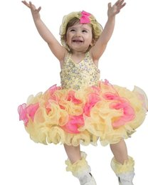 Barato Vestido Curto De Haltere Amarelo-2017 Yellow Hot New Girls Cupante Cupcake Vestidos infantis Tutu Vestidos Toddler Halter Crystal Pageant Dress
