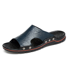 627d3a7b487cec mens fashion Genuine Leather slide sandals summer outdoor beach causal  slipper for mens size euro 38-48