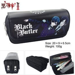Long Cosmetic Bag NZ - Wholesale- Anime Black Butler Style Zipper Pencil Case Cosmetic Pouch Wallet Purse Bag