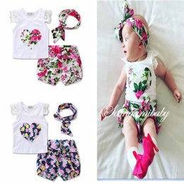 Discount white lace baby headband - 2017 INS Baby girl Toddler Summer clothes 3piece set outfits Rose Floral Lace Tops Shirt Vest + Shorts Pants Bloomers +