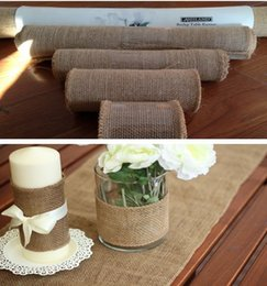 Wholesale 10M Hessian Burlap Ribbon Roll Rustic Natural Wedding Table Runner Dinning Cover Chair Decor Of Home Banquet