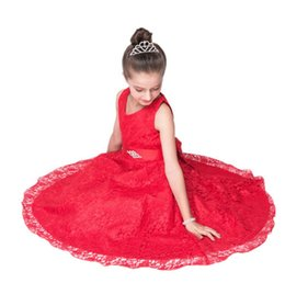 Chinese  cute red Elegant beautiful Muchachas 2017 lace Grande flower girl dress pageant dresses and embroidery dress manufacturers
