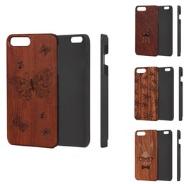 white rose pattern UK - Retro Carving Pattern Wood Phone Case for IPhone 5 6 6plus 7 7plus Protective PC Back Cover Case