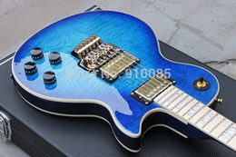 Wholesale alex rose resale online - Custom Axcess Alex Lifeson Trans Blue Flame Maple Top Electric Guitar Floyd Rose Tremolo Bridge Maple Fingerboard MOP Block Inlay