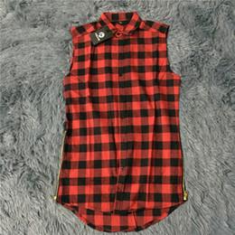 Atacado - hip hop roupas tyga mens camisa masculina ganhos camisas xadrez mangas lado zíper de ouro homem estendido mens vestido camisa em Promoção