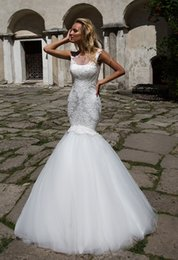 sexy beach wedding dresses free 2019 - 2017 Free Shipping Square Mermaid Wedding Dresses Floor Length White Tulle Appliques Lace Beach Cheap Wedding Dress Sexy